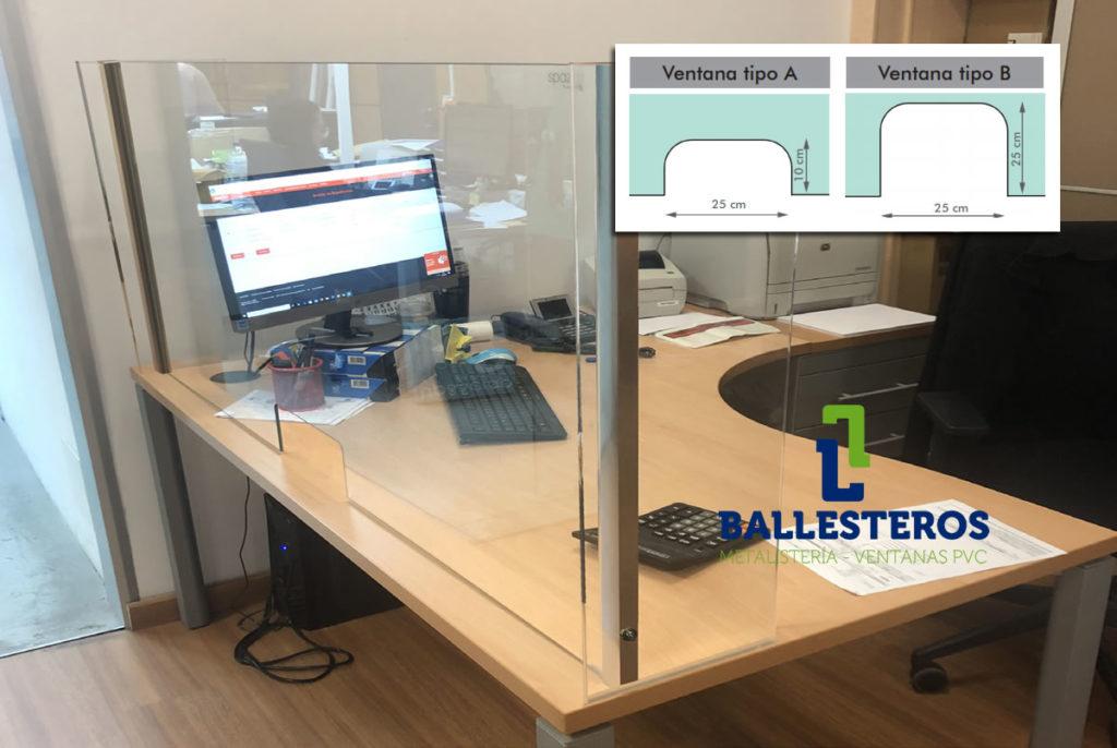 Mampara de protección Proteck PV en mesa de trabajo